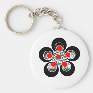 Keychain Red Silver Flower