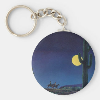 KEYCHAIN Saguaro Cactus Full Moon Ride Moonlight