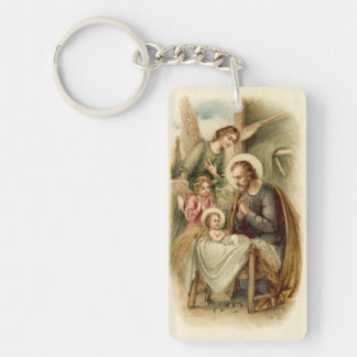 Keychain: St. Joseph Nativity Single-Sided Rectangular Acrylic Keychain