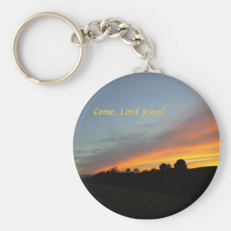 Keychain-Sunset and clouds: Come, Lord Jesus! Basic Round Button Keychain