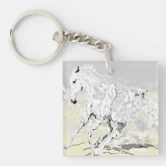 Keychain White Stallion in Motion