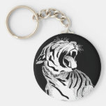 KEYCHAIN White Tiger Aggressive Big Cat Snarling