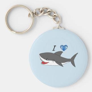 Keychain with cute I love sharks design
