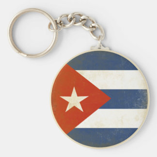 Keychain with Distressed Vintage Flag from Cuba