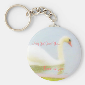 Keychain with peace and joy swan.