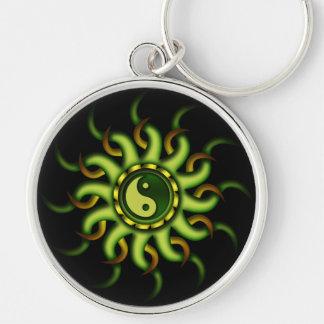 Keychain, Yin Yang Sun, Gold Green Silver-Colored Round Keychain