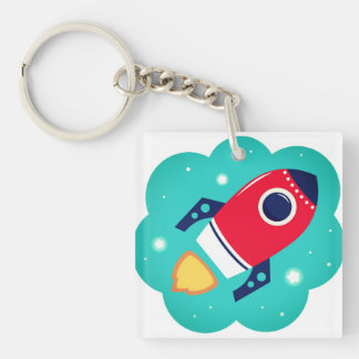 Keychaine with Rocket : Original art Double-Sided Square Acrylic Keychain