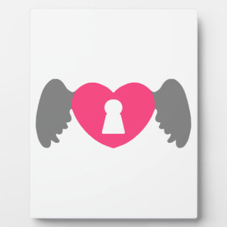 Keyhole Heart Wing Grey-Pink Plaque