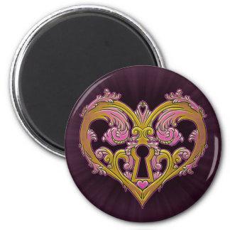 Keyhole Lock Heart Design 2 Inch Round Magnet