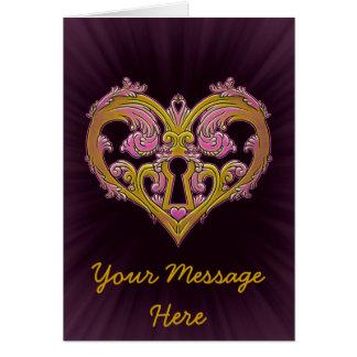 Keyhole Lock Heart Design Greeting Card