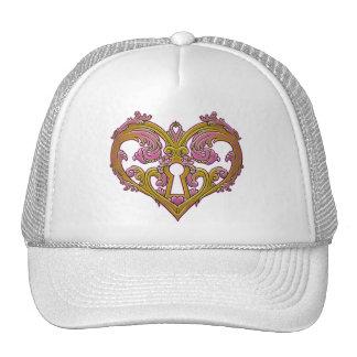 Keyhole Lock Heart Design Trucker Hats
