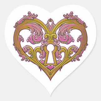 Keyhole Lock Heart Design Heart Sticker