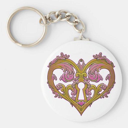 Keyhole Lock Heart Design Keychains