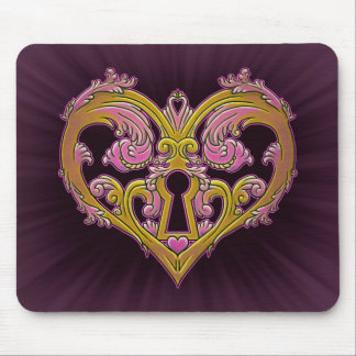 Keyhole Lock Heart Design Mouse Pad