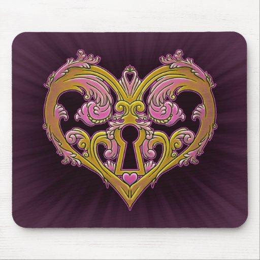 Keyhole Lock Heart Design Mousepad