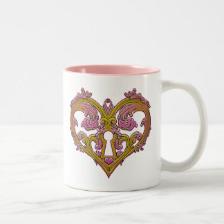 Keyhole Lock Heart Design Coffee Mug