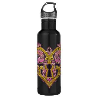 Keyhole Lock Heart Design 24oz Water Bottle