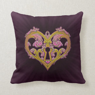 Keyhole Lock Heart Design Pillow