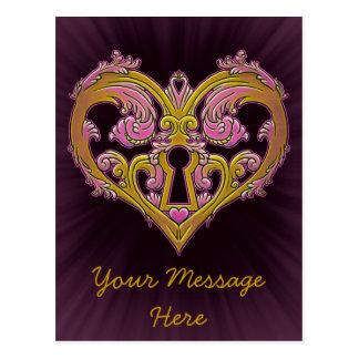 Keyhole Lock Heart Design Postcard