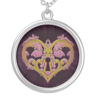 Keyhole Lock Heart Design Round Pendant Necklace