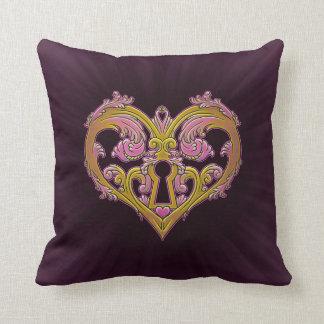 Keyhole Lock Heart Design Throw Pillows