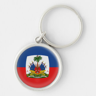 Keyring Haiti flag Silver-Colored Round Keychain