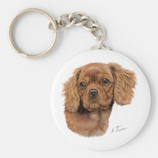 Keyring : Ruby Cavalier king charles spaniel puppy