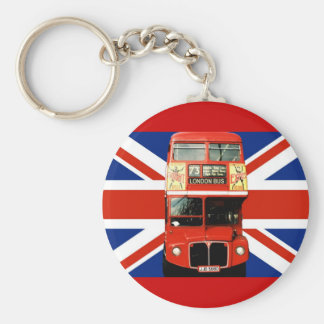 Keyring with Bus and British Flag Basic Round Button Keychain