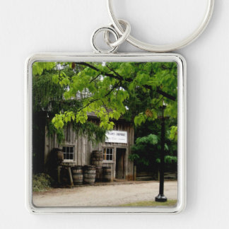 Keyring-Wooden House Silver-Colored Square Keychain