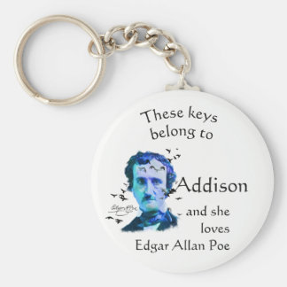 Keys Belong to Custom Name Loves Edgar Allan Poe Keychain