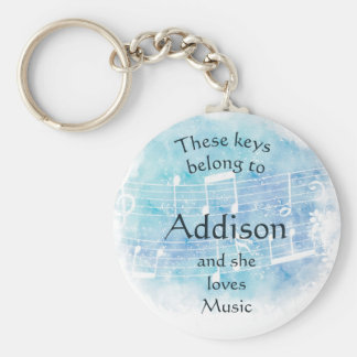 Keys Belong to Custom Name Loves Music Keychain