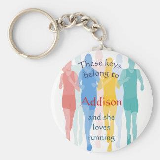 Keys Belong to Custom Name Loves Running Keychain
