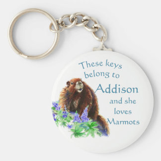 Keys Belong to Custom Name Loves the Marmot Animal Keychain