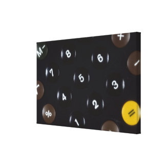 Keys on a calculator stretched canvas print