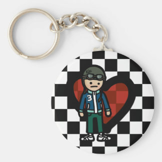 keys to the scooter. basic round button keychain