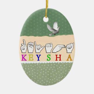 KEYSHA FINGERSPELLED ASL NAME SIGN CERAMIC ORNAMENT