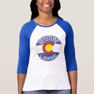 Keystone Colorado circle flag ladies stripe tee