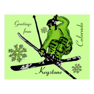 Keystone Colorado green theme ski postcard