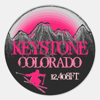 Keystone Colorado pink ski art mountain stickers
