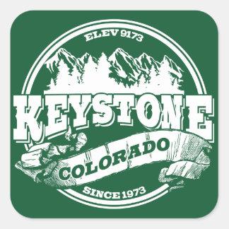 Keystone Old Circle Green Square Sticker