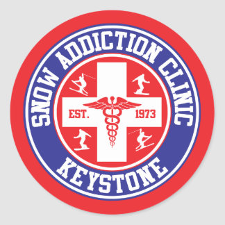 Keystone Snow Addiction Clinic Classic Round Sticker