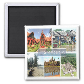 KH * Cambodia - Angkor Wat - Phonom Penh Square Magnet