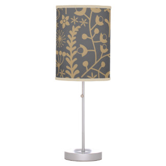 Khaki and charcoal grey abstract floral pattern table lamp