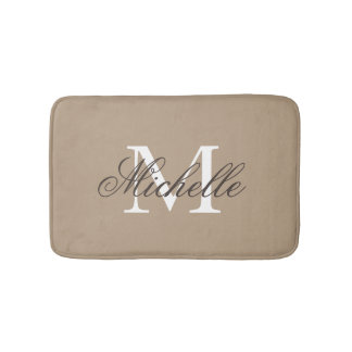 Khaki beige bath mat with elegant name monogram