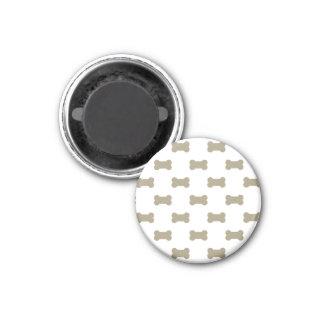 khaki Beige Dog Bones On Bright White Background 1 Inch Round Magnet