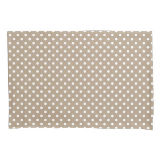 Khaki beige polka dots pattern pillowcase cover