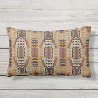 Khaki Beige Taupe Brown Eclectic Ethnic Look Outdoor Pillow