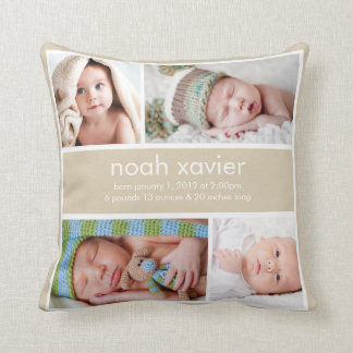 Khaki Birth Announcement Pillow