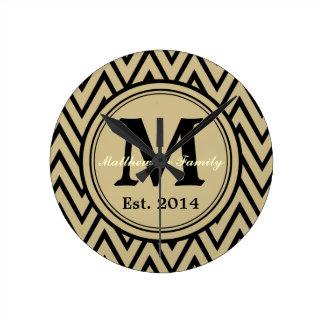 Khaki & Black Chevron Custom Monogram Wall Clock