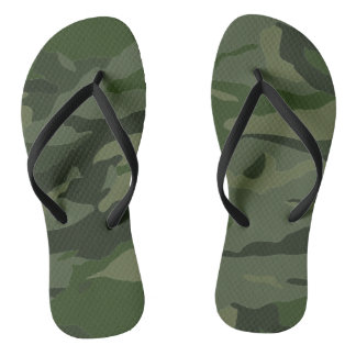 Khaki camouflage flip flops